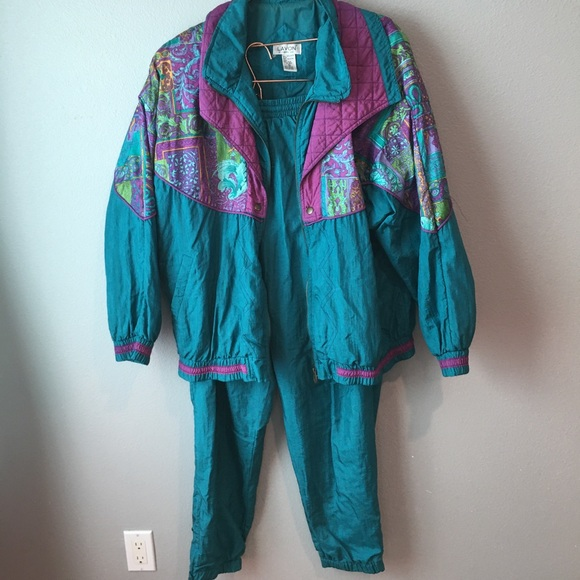 Vintage Windbreaker Pantsuit Set Teal Purple